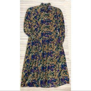 Vintage Eddie Bauer Corduroy Dress Floral Modest